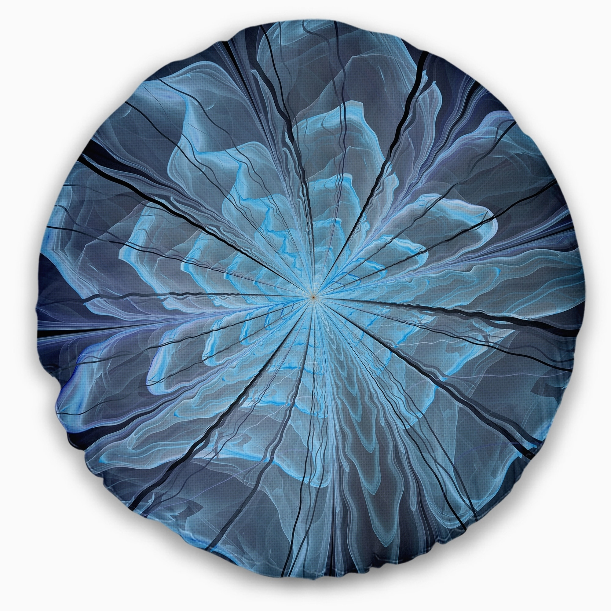 Sofa Throw Pillow 16 Designart CU12019-16-16-C Soft Blue Fractal Flower with Large Petals Floral Round Cushion Cover for Living Room
