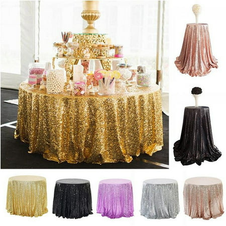 Glitter Sequin Round Tablecloth Cover, Sparkle Table Cloths Wedding Banquet Birthday Party Event Baby Shower Christmas Home Decoration, Rose Gold Silver Champagne, Small or Large Size