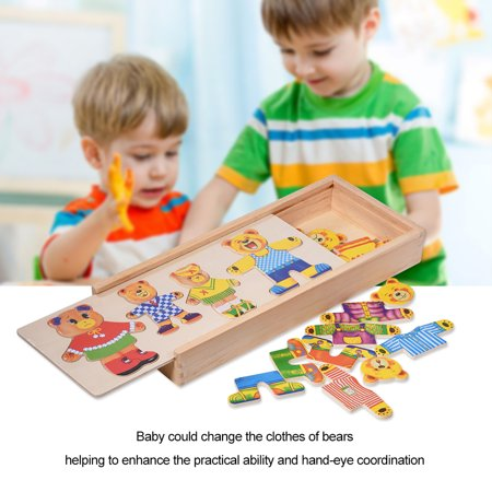 Mellow Bear - Kids Wooden Toy,Ymiko Creative Kids Baby Colorful Wooden Cartoon Bear Dress Changing Clothes Puzzle Educational Toy,Wooden Toy