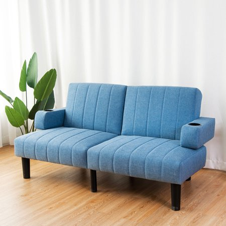 Costway Futon Sofa Bed Convertible Linen Upholstered SplitBack Lounge Couch w/Cup Holder