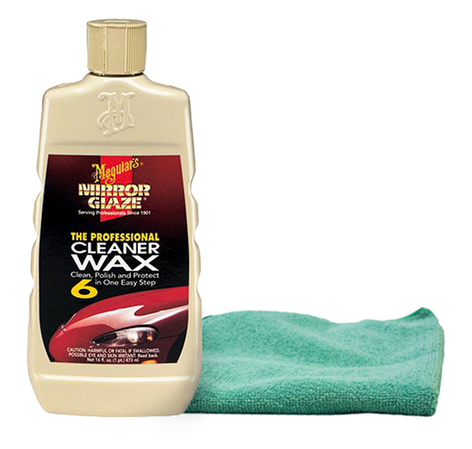 Meguiars Professional Cleaner Wax (16 oz.), Bundled with Microfiber Cloth Kit (2 Items)