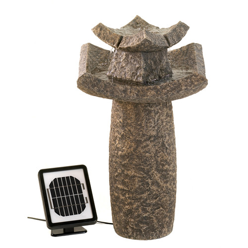 Zingz & Thingz Natural Stone Solar Temple Sculpture Water Fountain