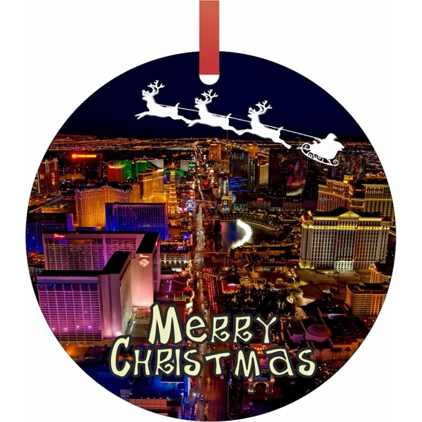 Santa And Sleigh Riding Over Las Vegas Tm Double Sided Round Shaped Flat Aluminum Christmas Holiday Hanging Ornament With A Red Satin Ribbon Made In The Usa Walmart Com Walmart Com