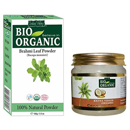 Indus Valley Brahmi Leaf Powder 100% Organic, Pure and Natural With Extra Virgin Organic Coconut Oil For Skin And Hair Care (Brahmi Powder 100grams and Coconut Oil (Curry Leaves And Coconut Oil For Hair Growth)