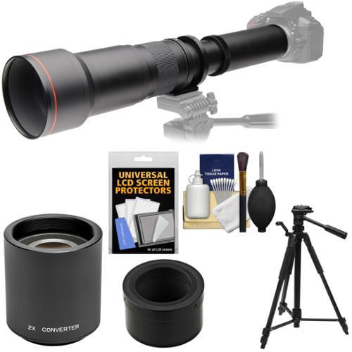 Vivitar 650-1300mm f/8-16 Telephoto Lens with 2x Teleconverter (=2600mm) + Tripod + Kit for Nikon 1 J1, J2, J3, J4, S1, V1, V2, V3 Camera