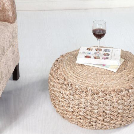 LR Home Natural Child Braided Jute Criss Knit Hemp Eco friendly Round 20 in. x 10 in. Pouf Ottoman ()
