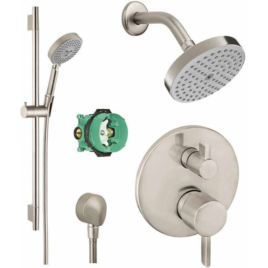 Hansgrohe KSH04447-04342-66PC Raindance Shower Faucet Kit with Handshower Wallbar PBV Trim with Diverter and Rough-In, Various Colors