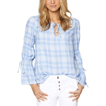 Sanctuary Womens Flora Plaid Bell Sleeves Peasant Top