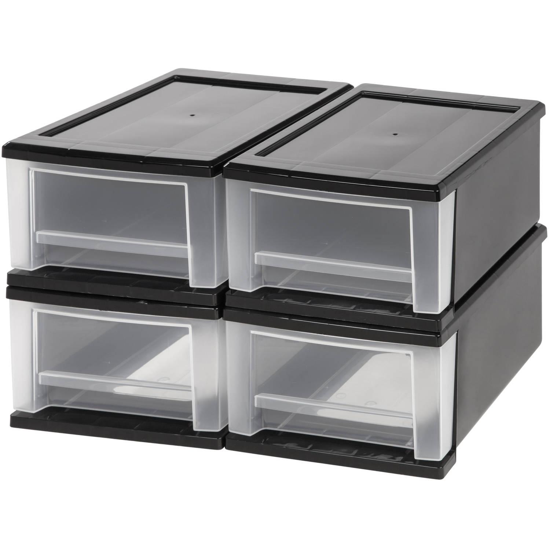 Iris 7 Quart Stacking Storage Drawer Black Set Of 4