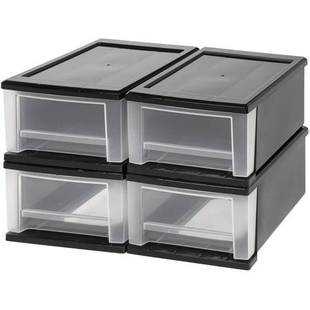 IRIS 7 Quart Stacking Storage Drawer, Black Set of 4 ()
