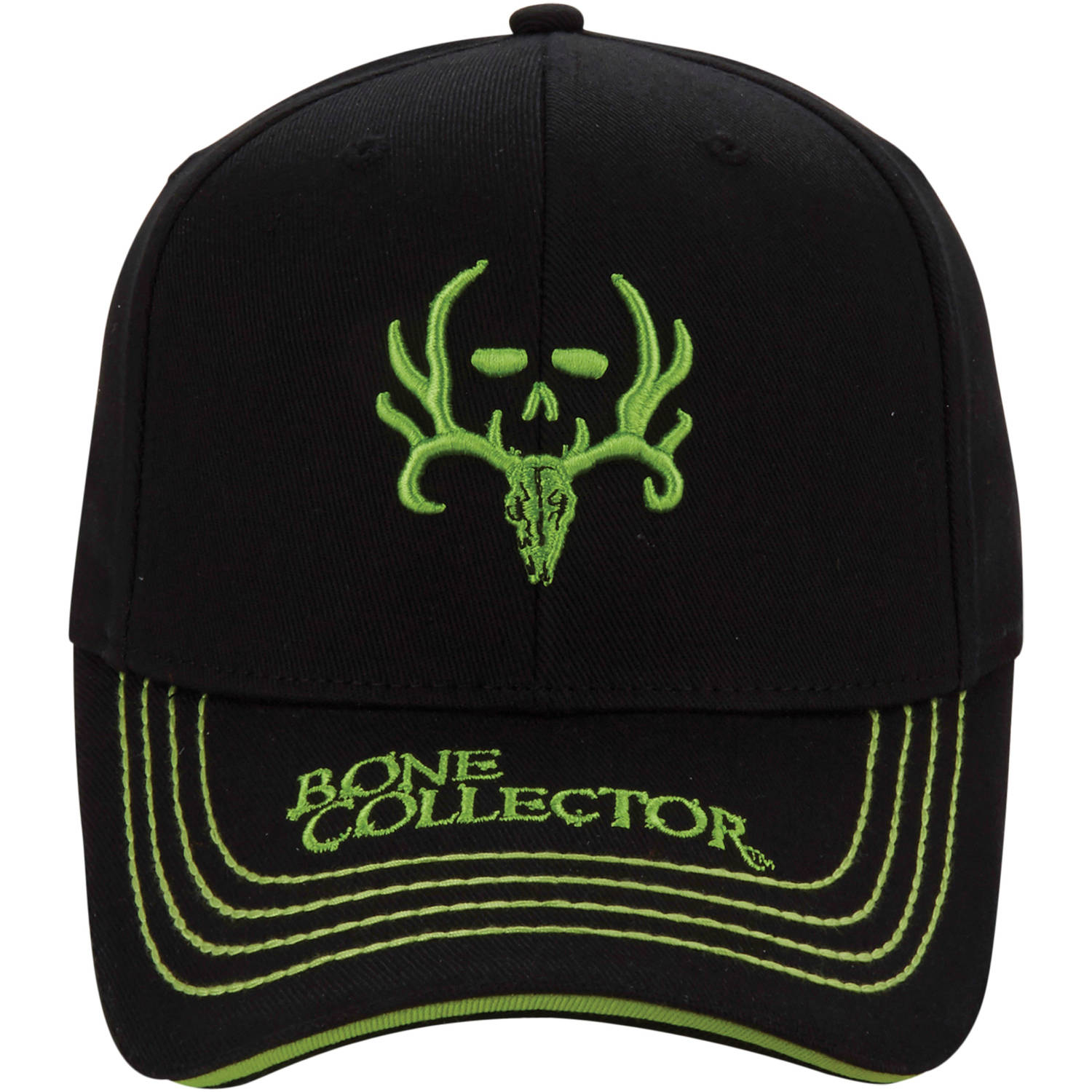 Bone Collector Green Logo Cap, Black