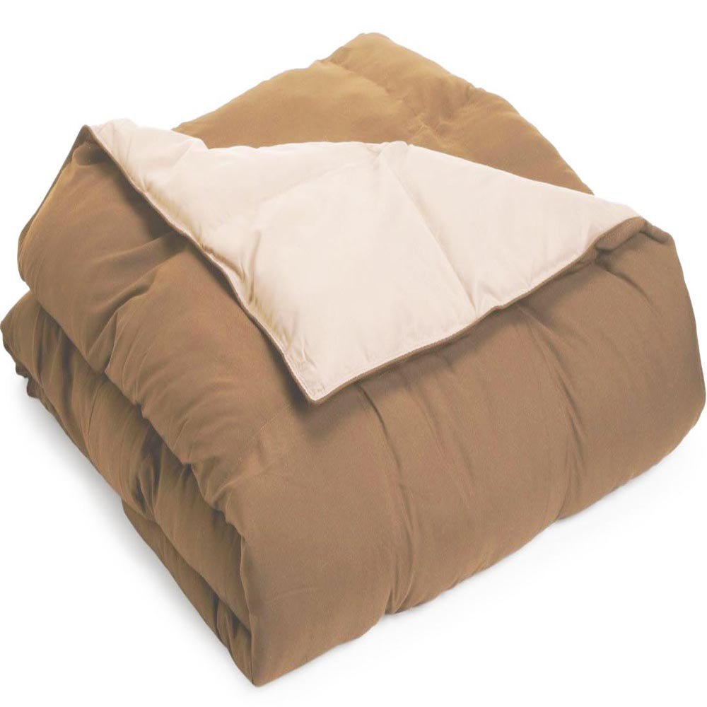 All Season Down Alternative Reversible Comforter Full/Queen Ivory-Taupe