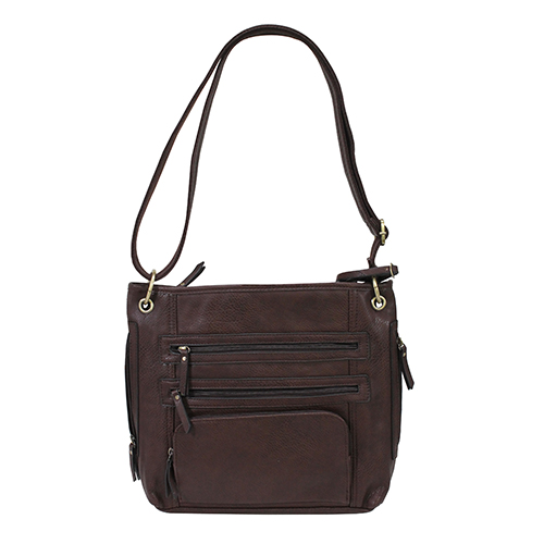 "Bulldog Cases Cross Body Style Concealed Carry Purse w/ Holster- Chocolate Brown (14"" x 12"" x 3"")"