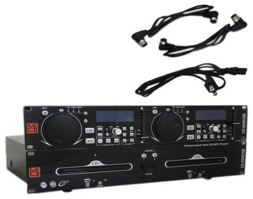 Mr. Dj CD-8200USB MP3 USB SD Card Compatible Professional Rack Mount Dual Multi-Disc DJ CD Player by MR.DJ