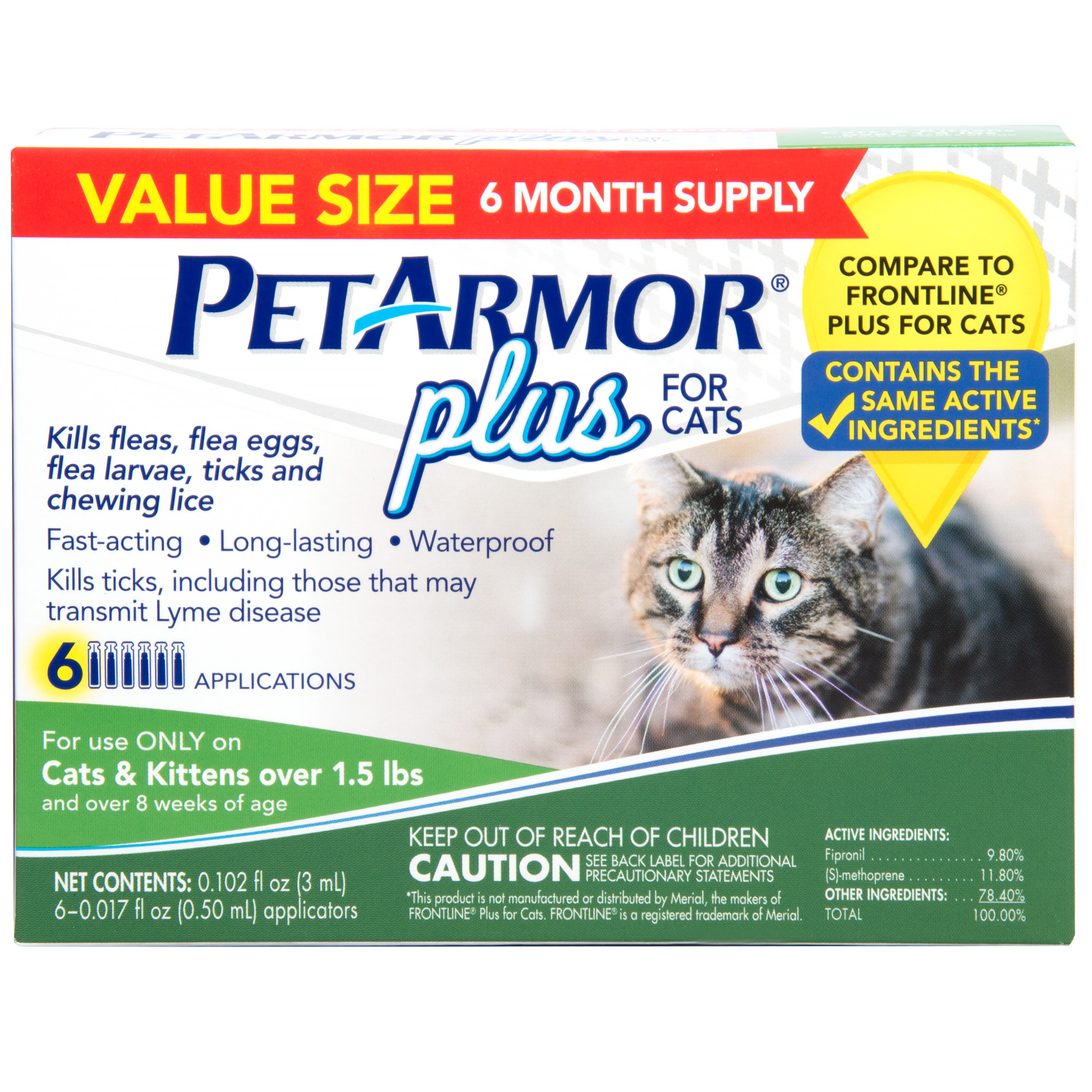 PetArmor Plus Flea & Tick Prevention for Cats with Fipronil (Over 1.5 Pounds), 6 Monthly Treatments