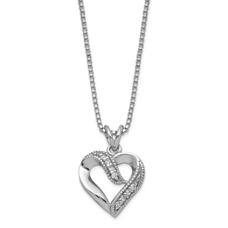 Roy Rose Jewelry Sterling Silver CZ Heart Pendant on 16 Box Chain Necklace 16'' -