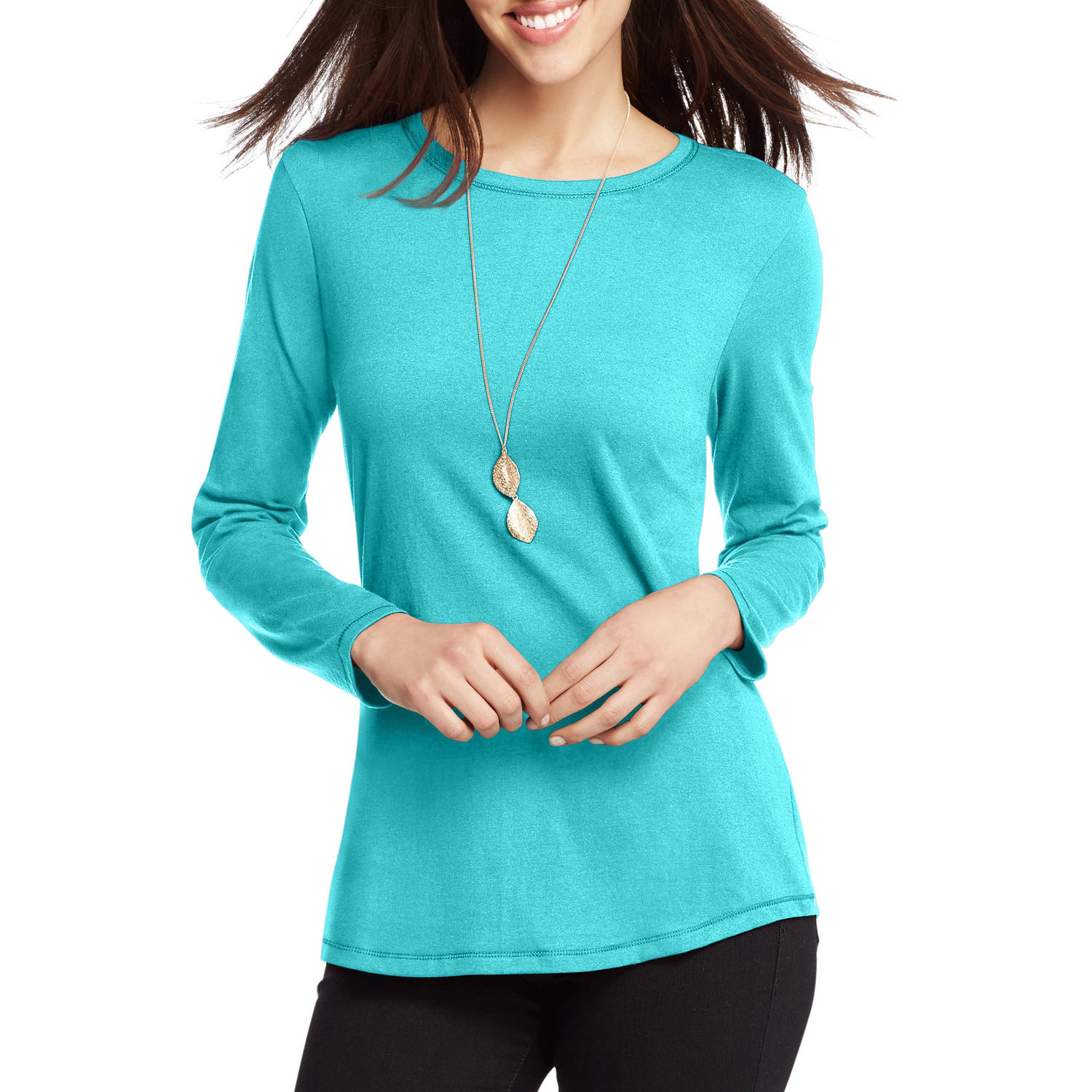 Womens Shirttail Long Sleeve Crewneck T Shirt Walmart
