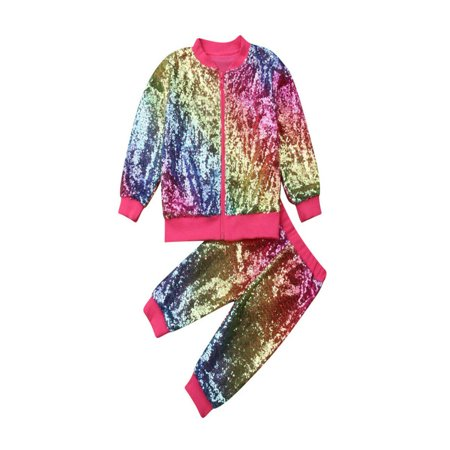 Toddler Kids Baby Girl Zipper Pullover Tops Jacket Pants Sequins Outfits covid 19 (Coat Top Pants coronavirus)