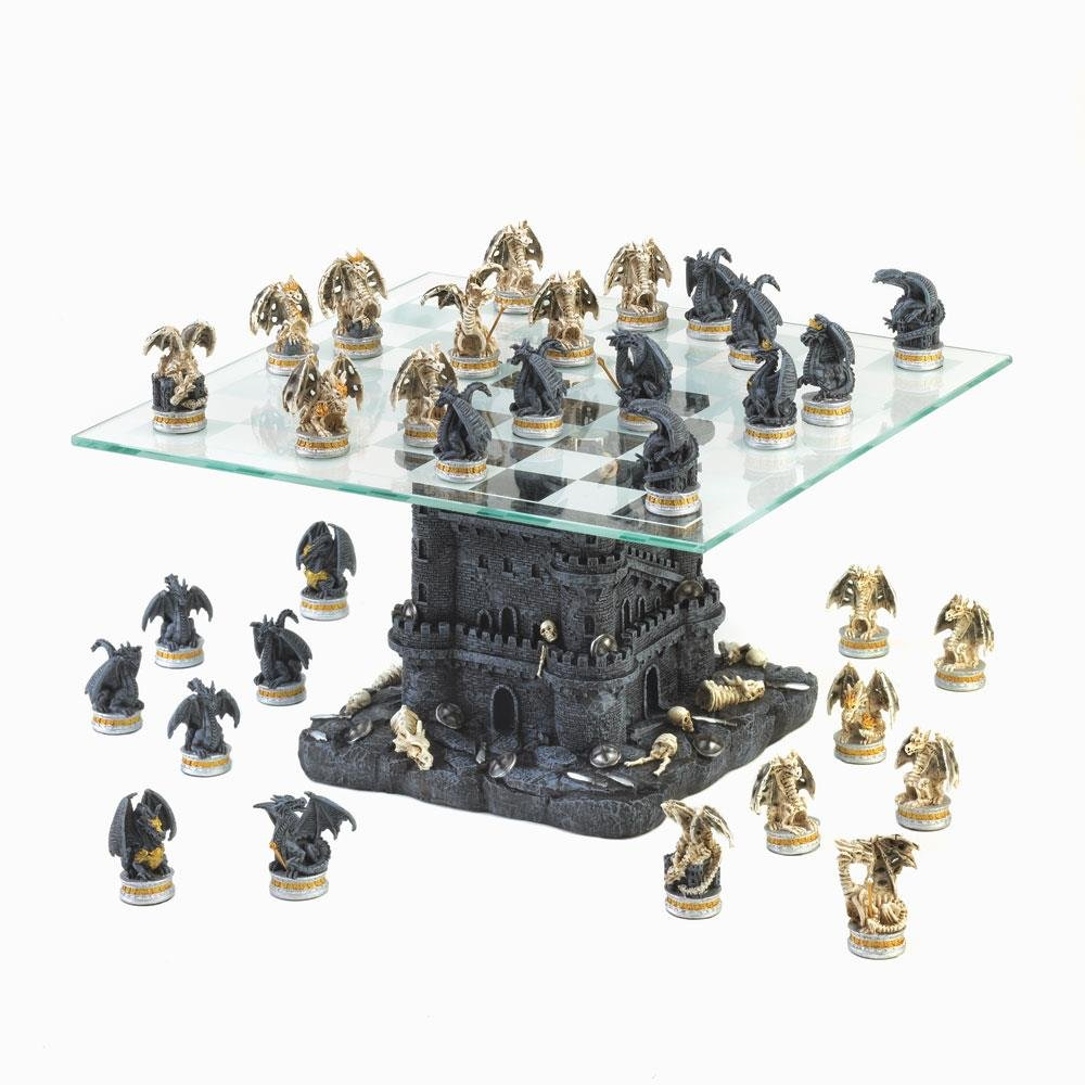 Quality Large Glass Chess Set 15 Inch, Ultimate Rustic Dragon Theme Chess Set by DRAGON CREST