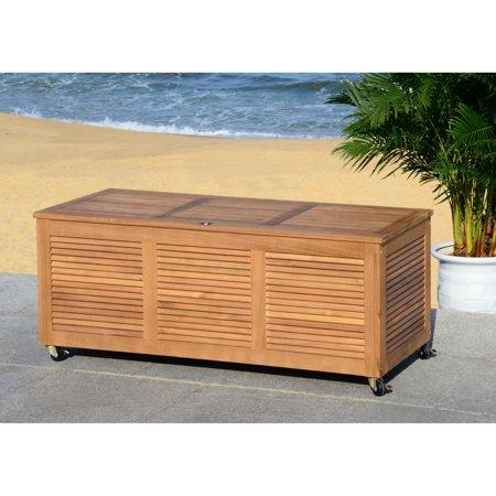 Safavieh Elina Outdoor Nautical 47 Inch L Wood Cushion Box ()