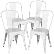 Yaheetech Metal Dinning Chairs Stackable Coffee Chair with Back, Distressed White, Set of 4