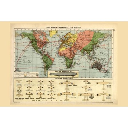 Air Routes Map 1920 poster Metal Sign 8inx 12in