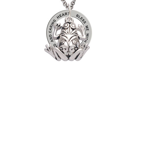 Large Filigree Frog Bless Me with a Healing Hand Affirmation Ring Necklace