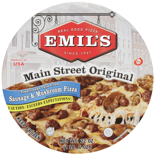 Emil's Main Street Original Sausage & Mushroom Thin Crust Pizza, 22 oz