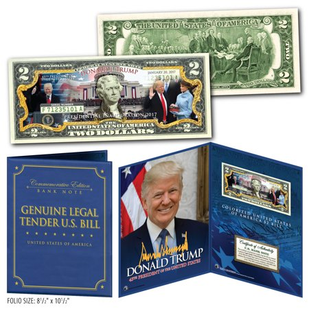 DONALD TRUMP 45th INAUGURATION $2 Bill in Large 8x10 Collectors Photo Display Collectors Display Base