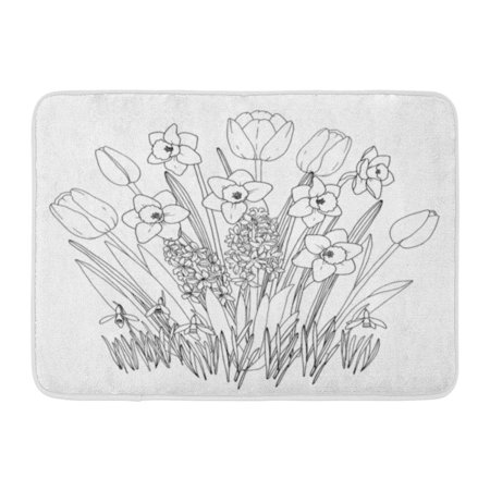 GODPOK Black Spring Garden Flowers Coloring Page with Blooming Daffodils Tulips Snowdrops Hyacinths All Full Rug Doormat Bath Mat 23.6x15.7 inch