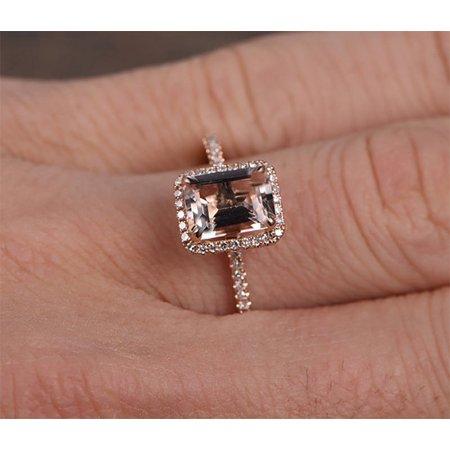 Antique Halo 1.50 Carat Peach Pink Morganite (emerald cut Morganite) and Diamond Engagement Ring in 10k Rose