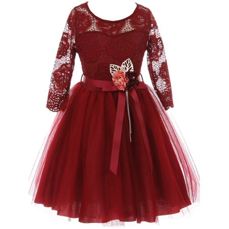 Little Girls Long Sleeve Girls Dress Floral Lace Roses Corsage Christmas Flower Girl Dress Burgundy 4 (J20KS98)