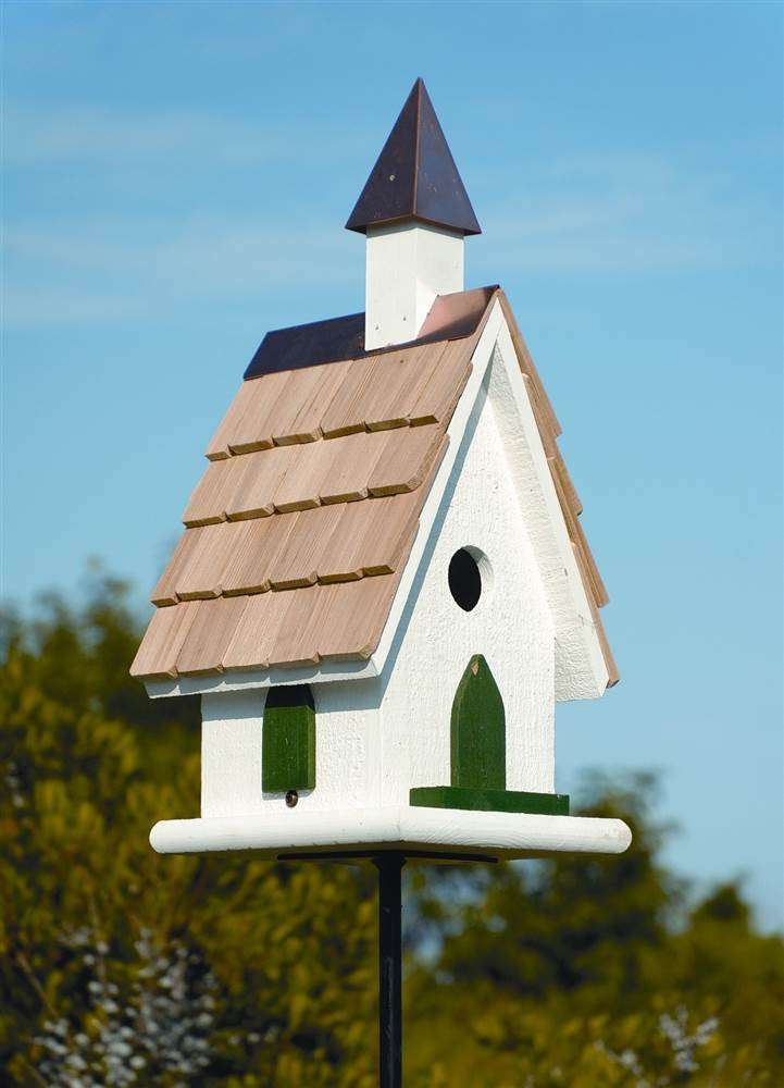 Country Church Bird House In White Copper Steeple