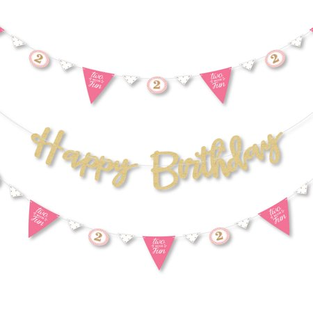 2nd Birthday Girl - Two Much Fun - Second Birthday Letter Banner Decoration - Real Gold Glitter Happy Birthday Banner - Happy Halloween Birthday Girl