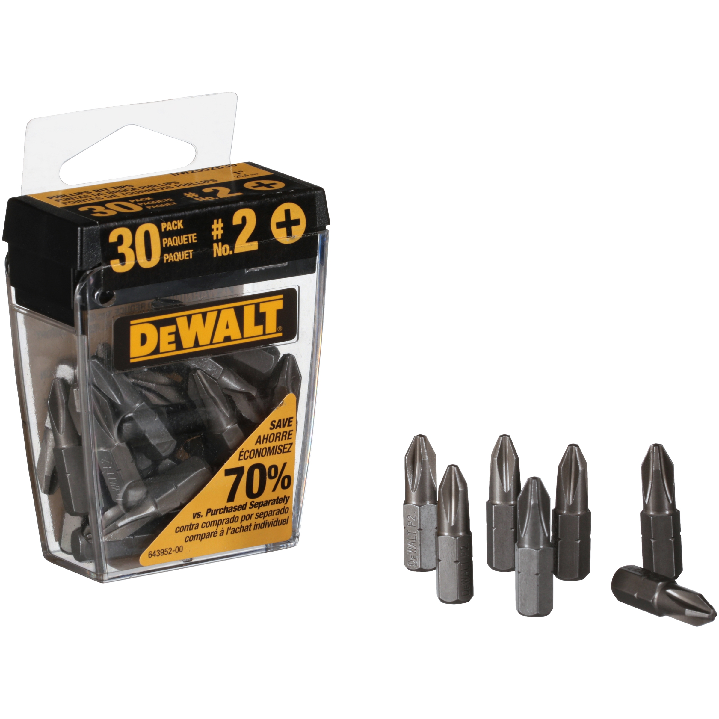 Power Drill Bits Tips Shock Resistant DW2002B30 30 DEWALT 2 Phillips Head 1 in