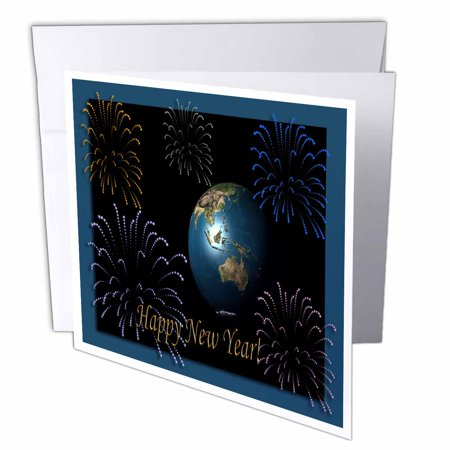 3dRose Earth with Fireworks 3d, Greeting Cards, 6 x 6 inches, set of