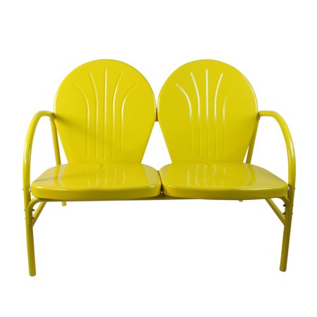 "41"" Sunshine Yellow Retro Metal Tulip Outdoor Double Chair"