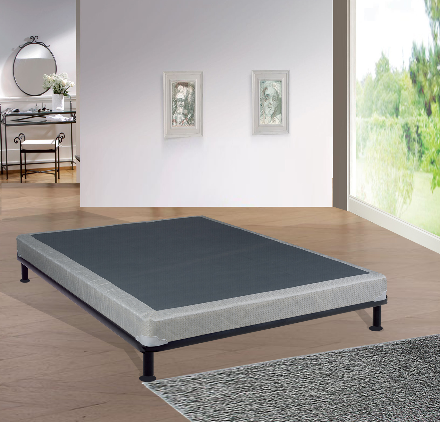 "WAYTON, 4"" Assembled Wood Box Spring/Foundation for Mattress, 