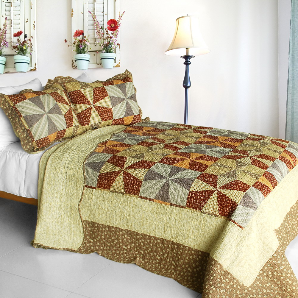 [Lucky Clover] 3PC Cotton Vermicelli-Quilted Printed Quilt Set (Full/Queen Size)