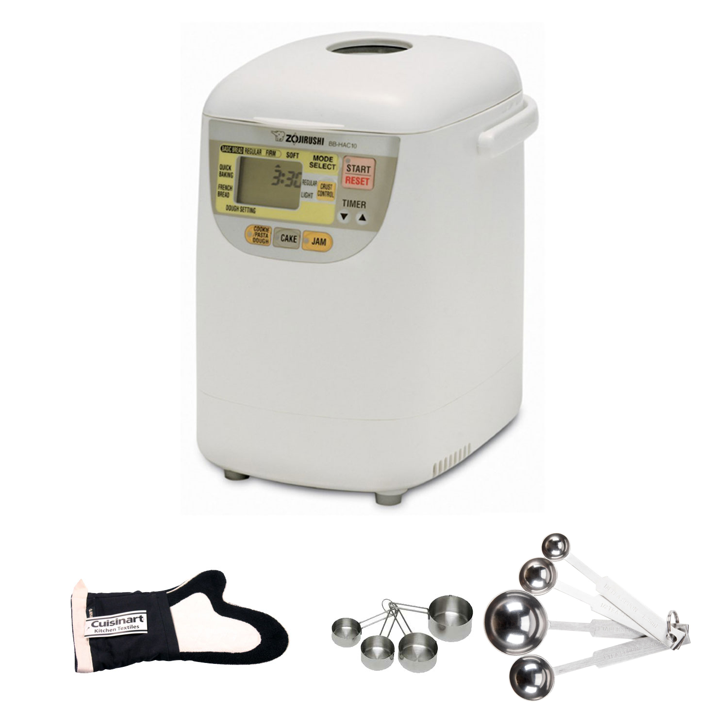 Zojirushi BB-HAC10 Home Bakery Mini Breadmaker Kit w/ Thumb Mitt + Measuring Cup Set & Spoon Set