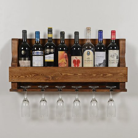 Rebrilliant Anding Natural 6 Bottle Wall Mounted Wine Gl Rack