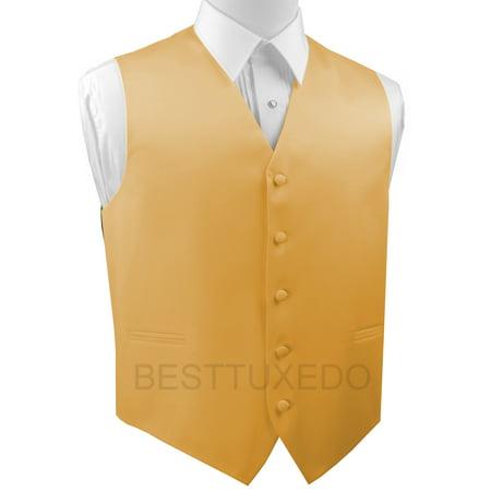 Gold Vest (Italian Design, Men's Formal Tuxedo Vest for Prom, Wedding, Cruise , in)