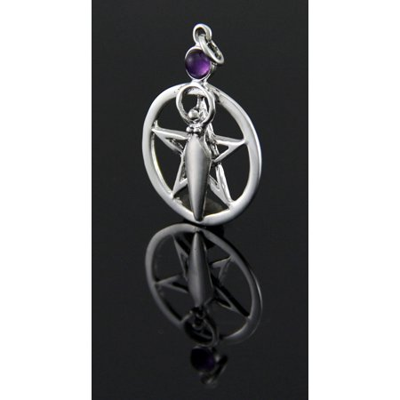 Sterling Silver Pentacle of the Goddess Pendant w/ Purple Cabochon - image 1 de 3