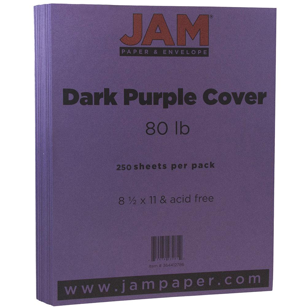 """JAM Paper Matte Cardstock, 8.5"""" x 11"""", 80 lb Dark Purple, 250 Sheets/Pack"""