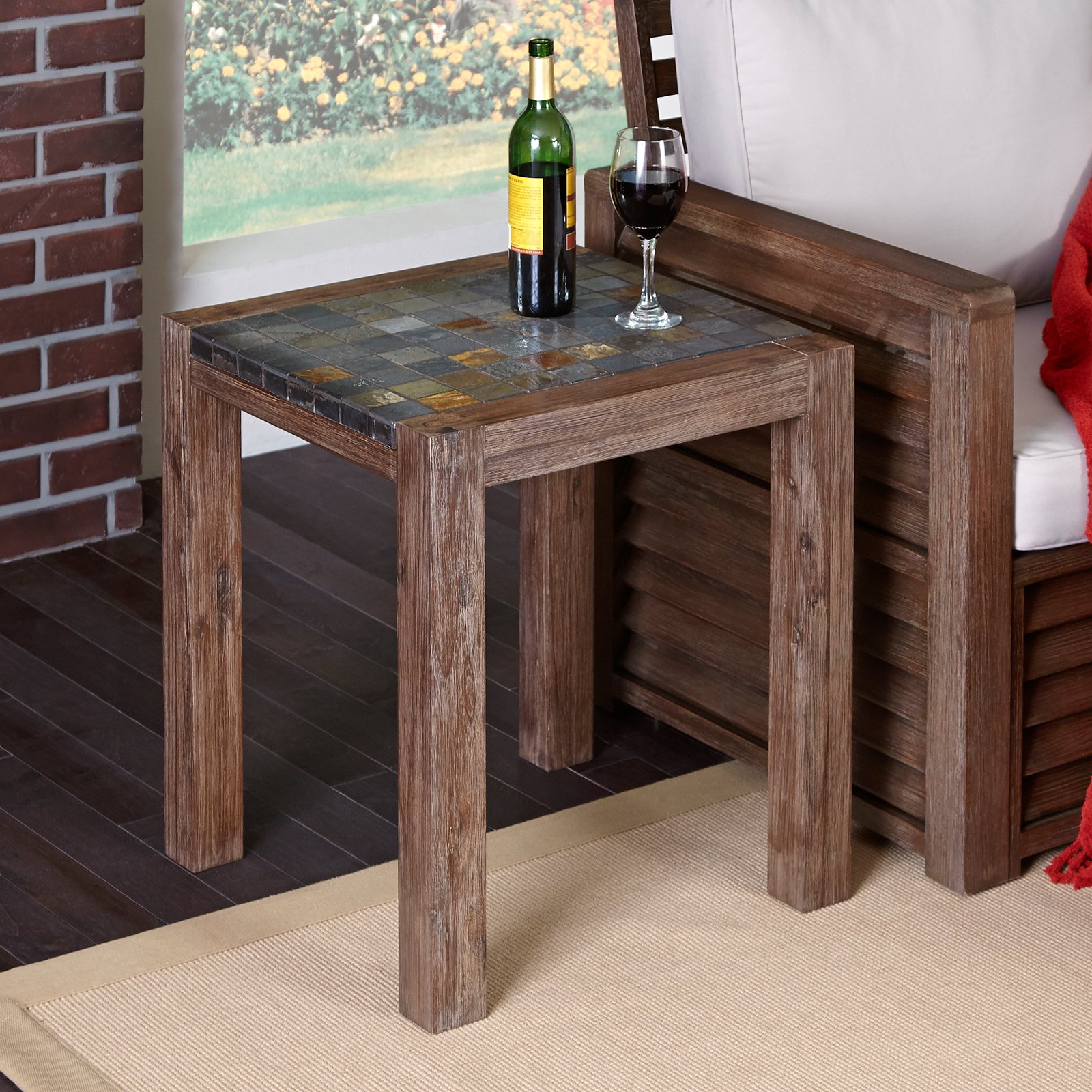 Home Styles Morocco End Table, Wire Brushed