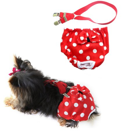 "WASHABLE Dog Diaper Female Elastic SUSPENDERS Red Polka Dots Reusable for SMALL Breeds sz X-Small (waist 9"" - 12"")"