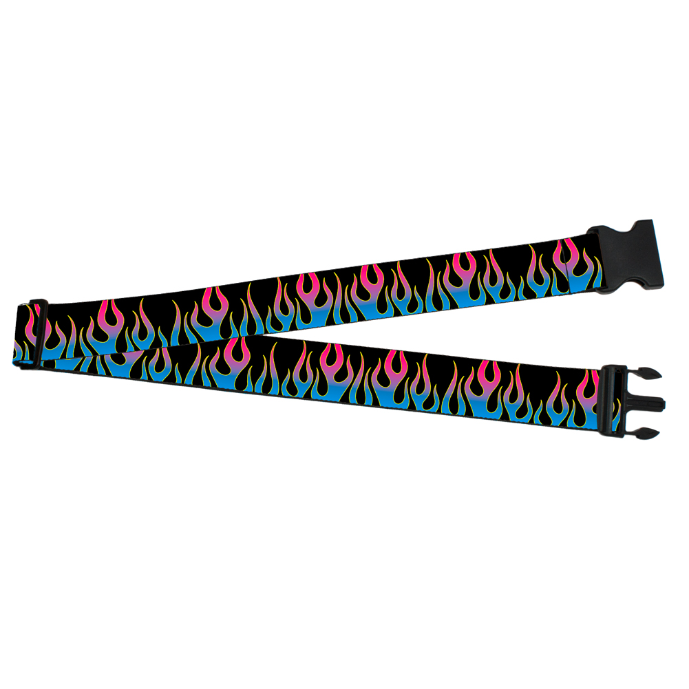 Colorful Blue and Pink Vertical Flaming Fire Flames Luggage Strap