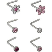 "Tomas Jewelry 22-Gauge Lead Crystal ""L-Shape"" Nose Stud Value Pack, Pink"