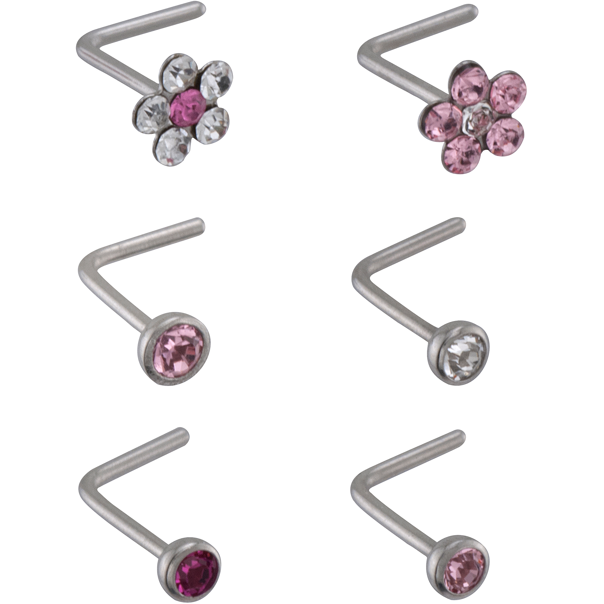 """Tomas Jewelry 22-Gauge Lead Crystal """"L-Shape"""" Nose Stud Value Pack, Pink"""