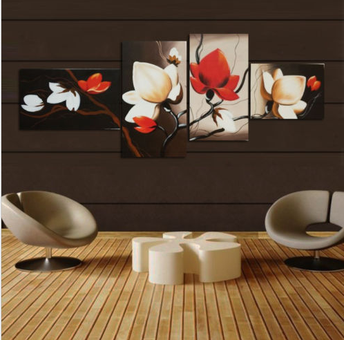 4 Panels Unframed Wall Decor Canvas Print Home Art Abstract Flower Painting Decor (No... by